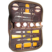 Vintage Art Deco Manicure Set in Original Fitted Leather Case!