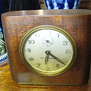 Vintage Seth Thomas Alarm Clock Brown Leather Casing‏
