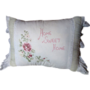 SALE Charming Home Sweet Home Vintage Embroidered Pillow
