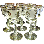 6 Libbey Silver Leaf Small Wine of Cordial Stem Glasses