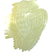 """Huge 3 1/2"""" Carved Shell Owl Pin, Very Detailed!"""