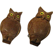 Cute Tiny Carved Wooden Owl Pins