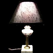 SALE Hand Painted Milk Glass Lamp, Petite & Elegant