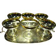 Six Lovely Gold Encrusted Small Sorbet Glasses on Gilt Tray
