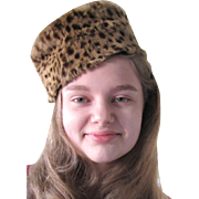 Cheetah The Cold, Lovely 60's Faux Fur Pillbox Hat!