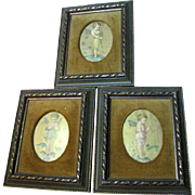 3 Beautiful Framed 1880s Advertising Trade Cards, Maison Demorest