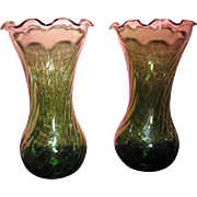 Delighful Pair of Green Hand Blown Ruffle Edge Opic Vases