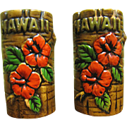 SALE Vintage Orchids of Hawaii Tiki Salt & Pepper Shaker Set‏, Japan
