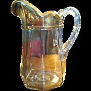 "Large 9"" Antique Gilt Pressed Glass Paneled Pitcher"