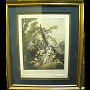 """SALE Original """"L'escarpolette"""" Engraving by Franz Hafstaengl after Jean Baptiste Joseph"""