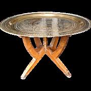 "SALE Vintage Mid Century 30"" Brass Folding Tray Table"