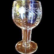 Nice Etched Glass Goblet Form Vase or Votive Holder