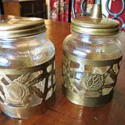 Pair of 1940's Nestle Jars with Mexican Brass Overlay, Lid and Pourer