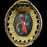 Large Mexican Feather Bird Basket, Hand Made Folk Art Souvenir