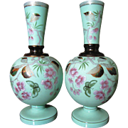 SALE Pair Victorian Bristol Glass Mantle Vases,Hand Painted Decoration