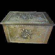 SALE Vintage English Embossed Brass on Wood Tinder or Slipper Box