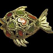 Florenza Enameled Fish Pin, Gorgeous!