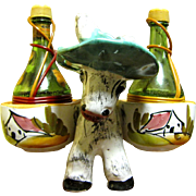SALE Pottery Donkey with Large Wine Bottle Shakers, Fun!