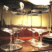 Four Platinum Floral Band Wine or Water Glasses, Elegant!