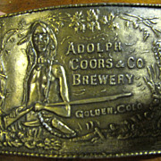 "SOLD Vintage Adolph Coors & Company Brewery ""Beer"" Brass Belt Buckle"