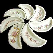 Seven Antique Transfer Floral Bone Dishes, Pretty Designs!