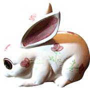 SALE 1960's Enesco Ceramic Rabbit Figurine Cotton Ball Dispenser