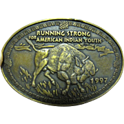 Running Strong For American Indian Youth, Buffalo Oval Metal Belt Buckle‏