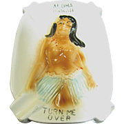 SALE Hawaii Ceramic Risque Hula Girl Turn Me Over Novelty Ashtray‏