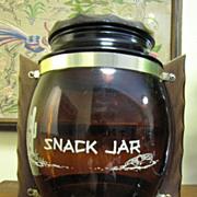 SOLD 70's Glass Siesta Ware Snack Jar, Wooden Lid & Handles!
