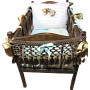 Darling Early Vintage Doll Bed with Custom Bedding