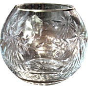 Hand Cut Lead Crystal Rose Bowl with Gilt Rim