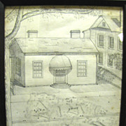 SALE 1939 Original Pencil Drawing of a Town Cottage by Sampson