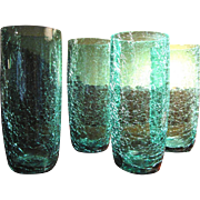 4 Vintage Turquoise Crackle Glass Tumblers, Summer Cool!