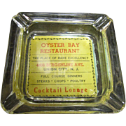 Vintage Advertising Ashtray, Oyster Bay Restaurant, Union City, N.J.