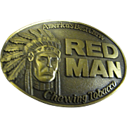 SALE Vintage Red Man Belt Buckle America's Best Chew Chewing Tobacco