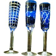 SALE 3 Cobalt Cut to Clear Wine Flutes, Beautiful!