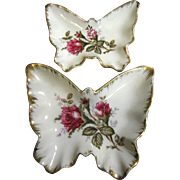 2 Pretty Moss Rose Porcelain Butterfly Bowls, 50's Japan