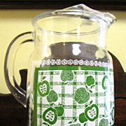 Large Vintage Pitcher with Apple Decal Decoration