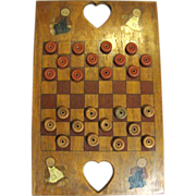 Vintage Hand Made Country/Folk Art Checker Board w/ Checkers‏