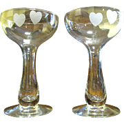 VALENTINES SPECIAL - Romantic Pair of Heart & Arrow Wine Stems