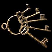 SALE Set of Five Brass Decorator Skeleton Keys on a Brass Key Ring