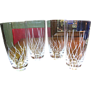 4 Elegant Etched Glass Tumblers, 2 Complimetary Designs