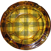 SALE Large Mid Century Amber Glass Cigar Cigarette Ashtray