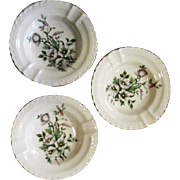 3 Vintage Floral Ashtrays Hand Painted Porcelain by Royal Crown
