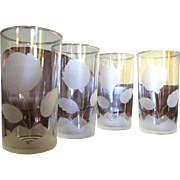 SALE 4 Etched Glass Rose Tumblers by Anchor Hocking