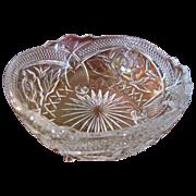 "Rose Embellished Large 8 1/2"" Lead Crystal Footed Bowl"