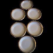 SALE Nice Set 6 Antique French Limoges Butter Pats, Banded Gilt Edges