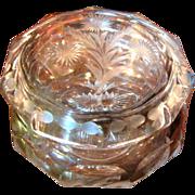 Beautiful Cut Glass Powder or Dresser Box by Heisey