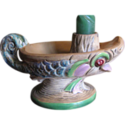 SALE Great Czechoslovakian Espaxa Art Pottery Candle Holder