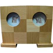 Nice Chequered Hard Wood Playing Cards Holder by Baum